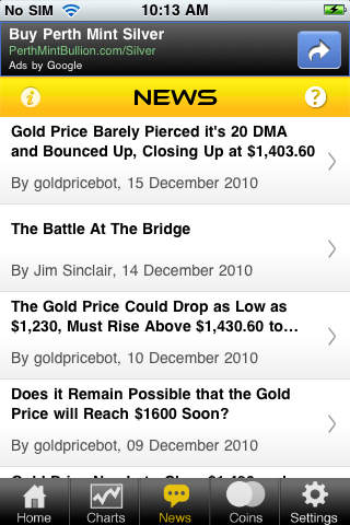Gold Price Live iTunes iOS