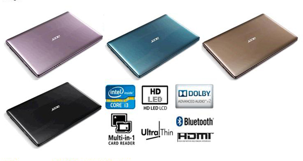 Acer Aspire S4752 colors pink blue bright brown black