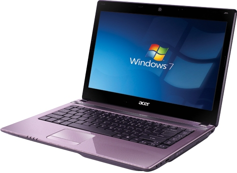 Acer Aspire S4752 hardware windows 7 lavender pink purple color dvd drive