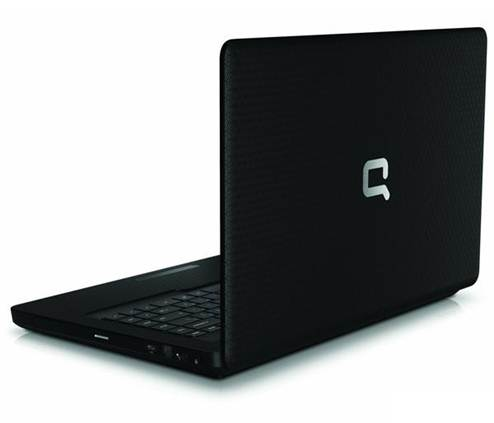 HP CQ43 open lid black back Compaq logo