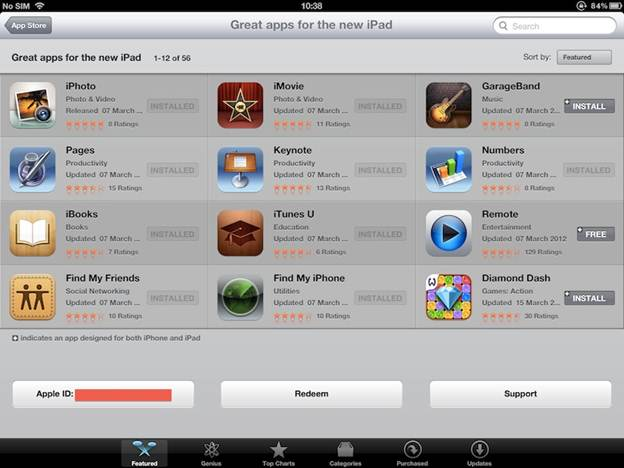 Apple New iPad 32GB Wifi  (Ipad 3 2012) Apps Features