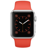 Apple Watch Sport 38mm Silver Aluminum Case with Orange Sport Band MLCF2VN/A