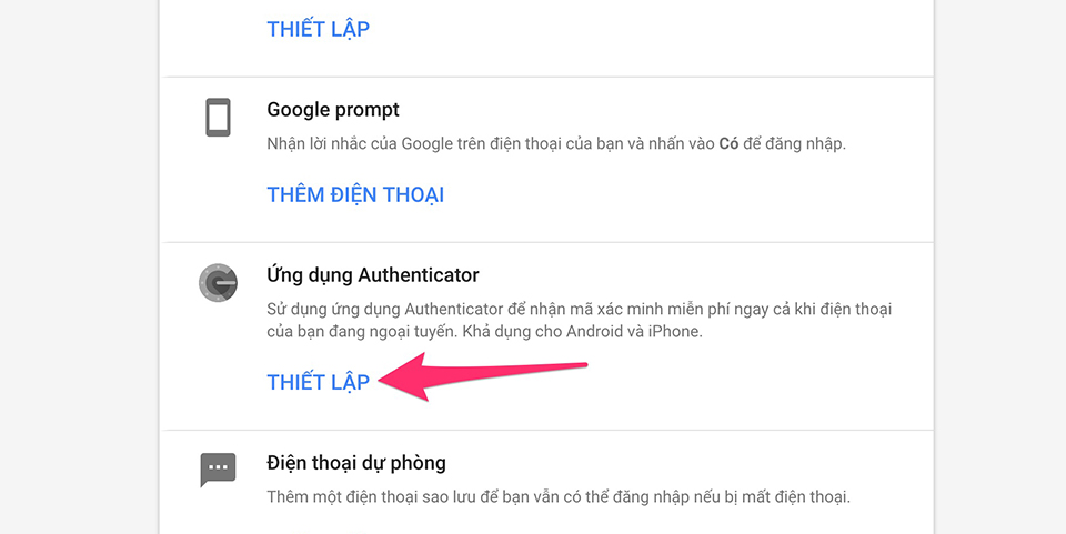 Cài đặt Google Authenticator