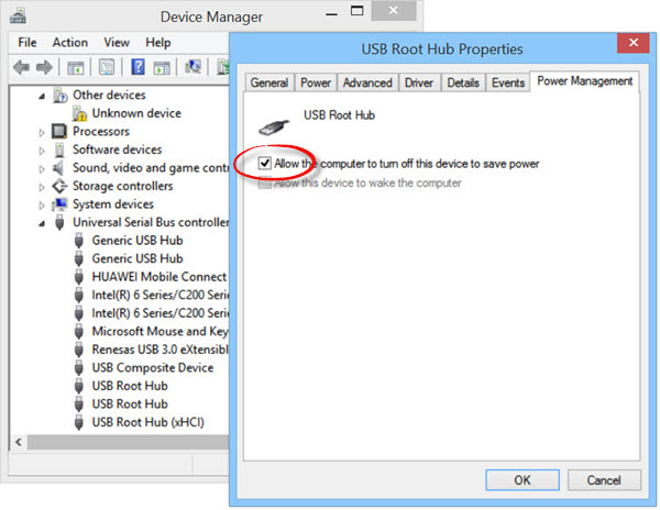 usb not recognised windows 10