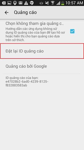 Tắt quảng có trên điện thoại Android