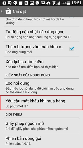 Cài đặt mật khẩu cho CH Play trên Galaxy A5