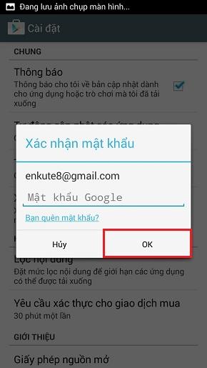 Cài đặt mật khẩu cho Google Play Store