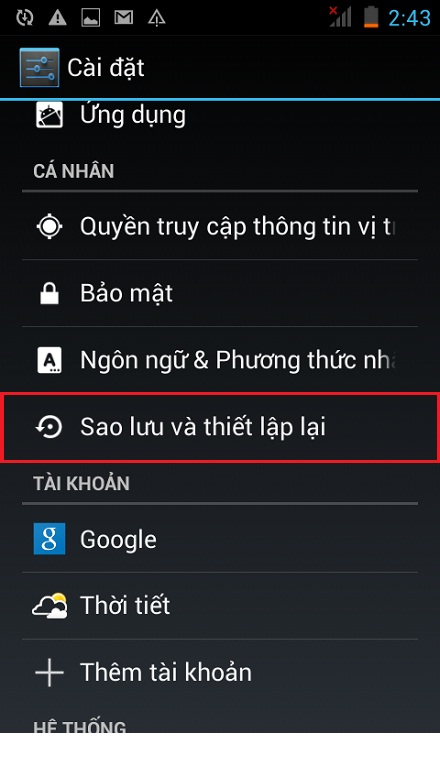 Khôi phục cài đặt gốc cho HTC Desire 616