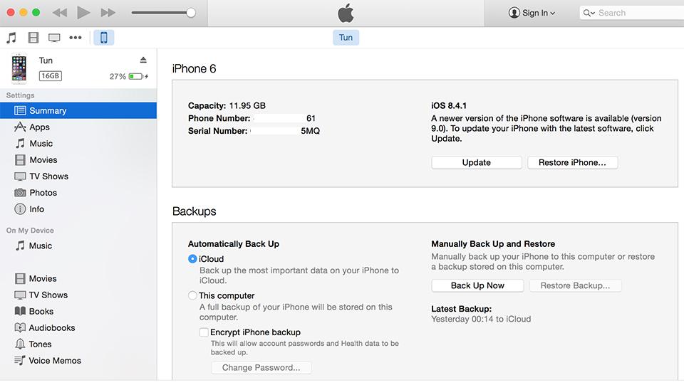 Cách 2: Nâng cấp iOS 9 thông qua iTunes
