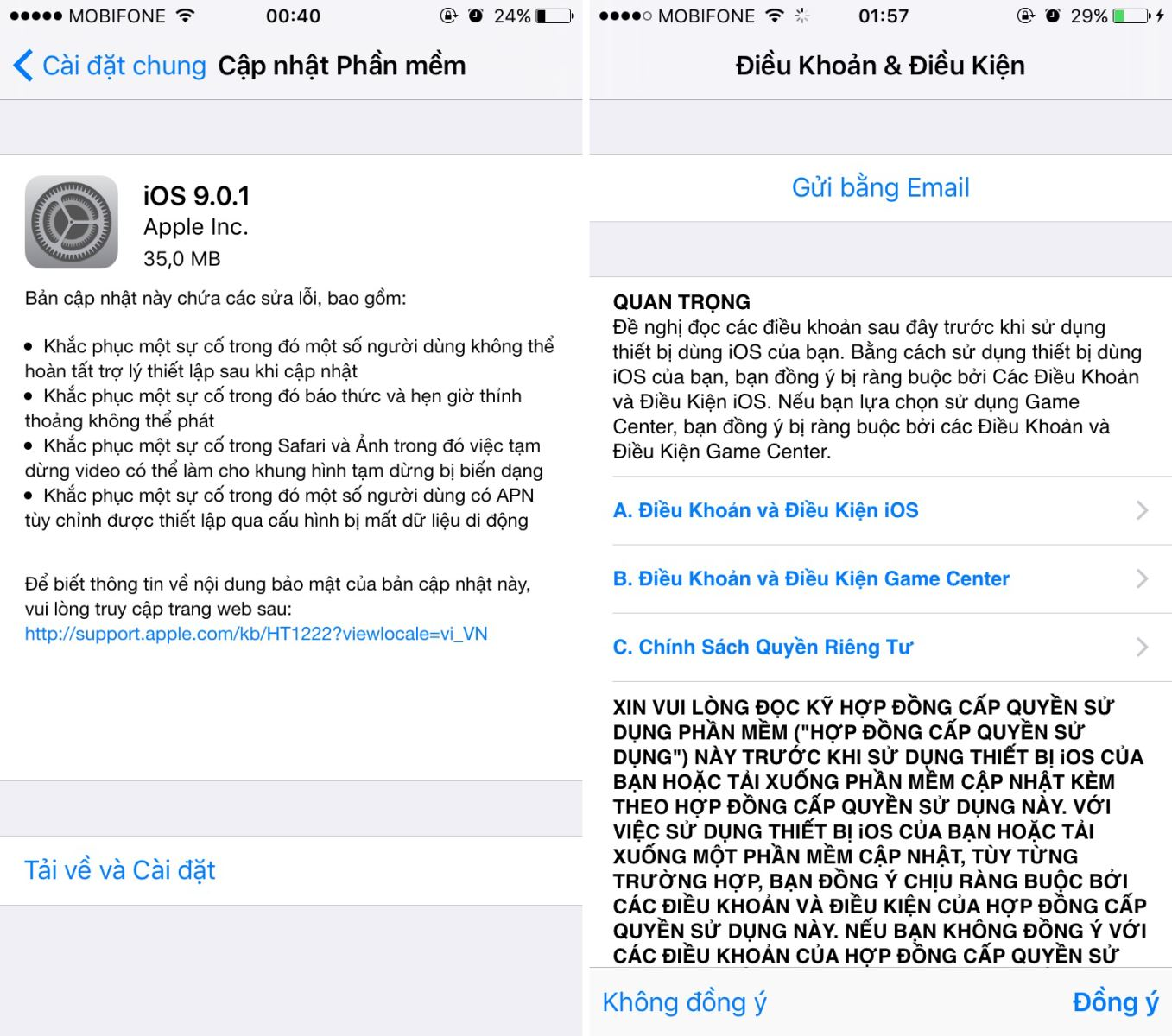 bản cập nhật iOS 9.0.1