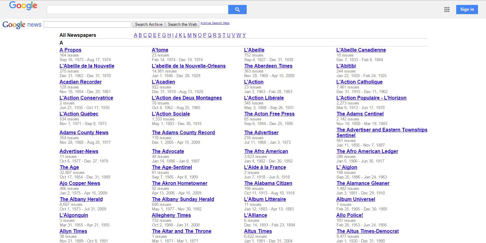 Tìm kiếm tin tức trong suốt 100 năm qua