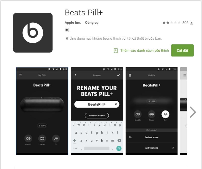ứng dụng Beats Pill+ của Apple dành cho Android