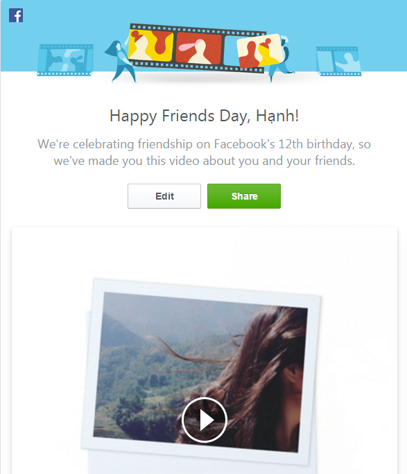Chỉnh sửa video Friends Day