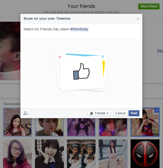 Chia sẻ video Friends Day lên Facebook