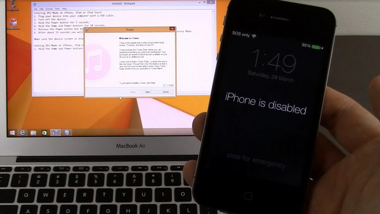 Mở khóa iPhone bị vô hiệu hóa vì nhập sai mật khẩu