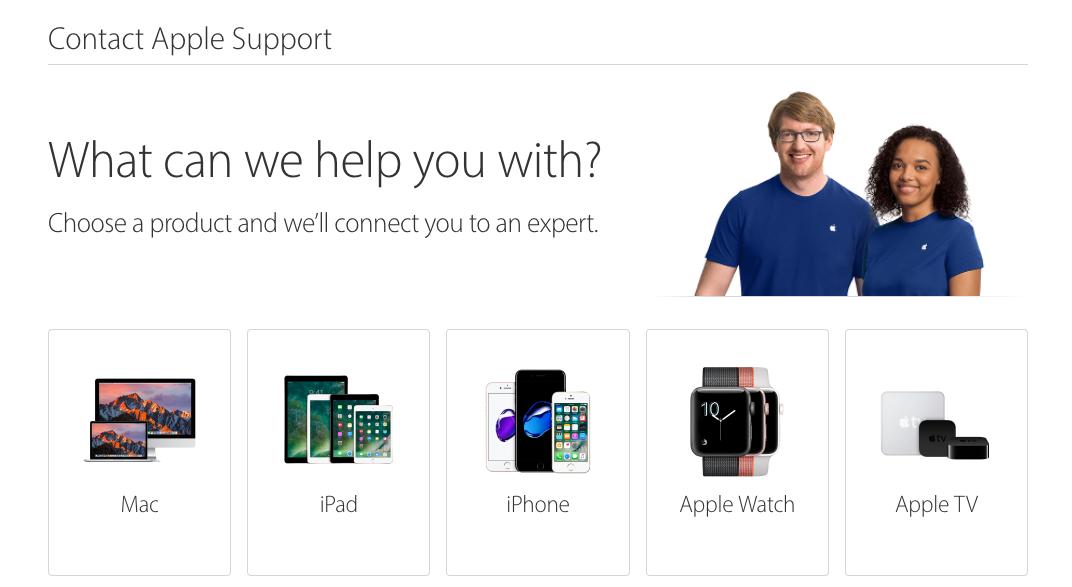 Vào đường link sau: Contact Apple Support