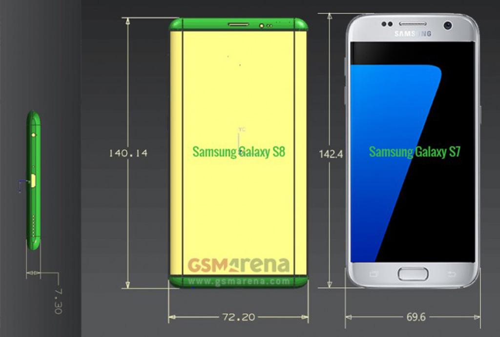 Lộ diện kích cỡ chính xác của Galaxy S8 và S8 Plus 2