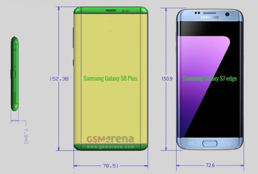 Lộ diện kích cỡ chính xác của Galaxy S8 và S8 Plus 1