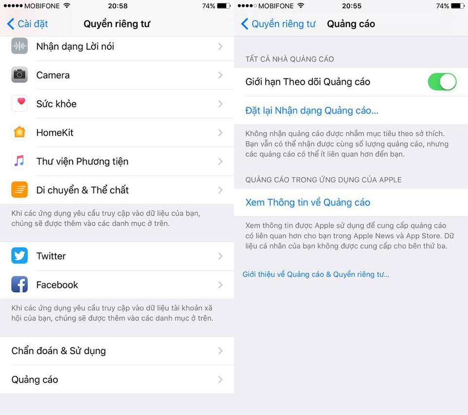 Bảo mật iPhone tốt hơn bằng cách giới hạn theo dõi quảng cáo