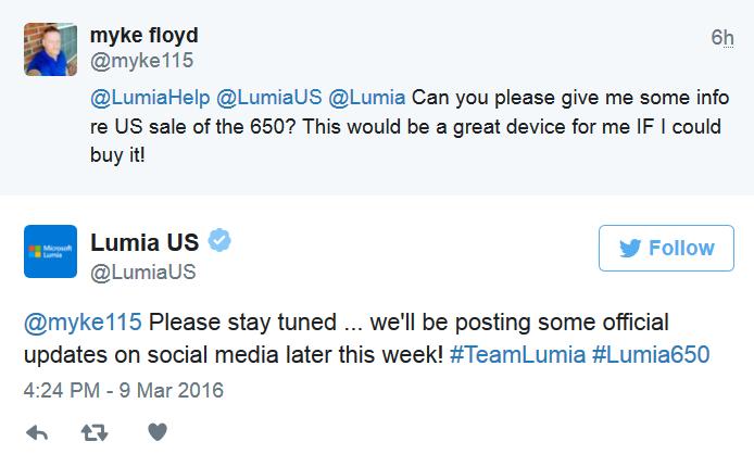 Lumia 650 sớm được bán ra tại thị trường Mỹ