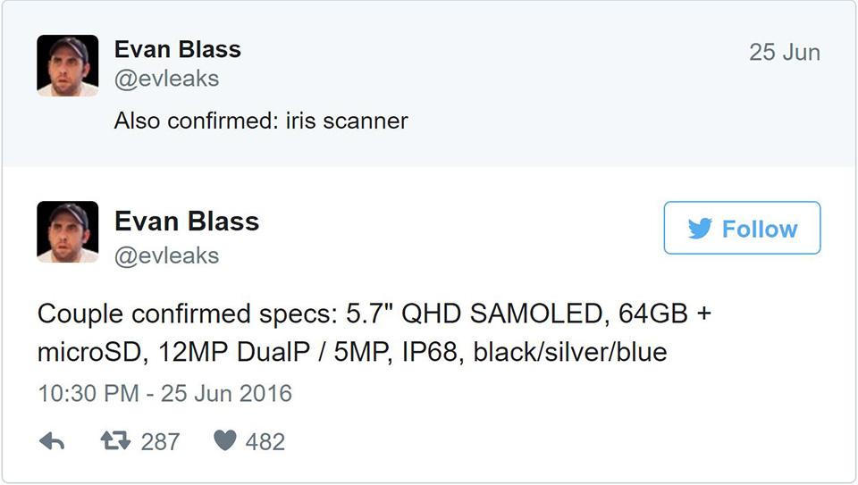 Ngay sau tên gọi, thông số kĩ thuật của Note 7 cũng được xác nhận