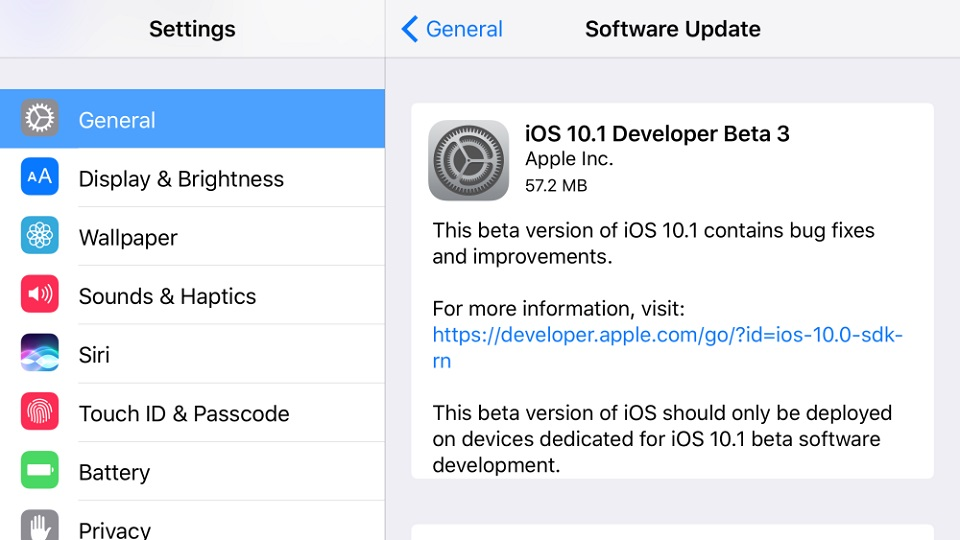 Apple tung ra iOS 10.1 beta 3 cho iPhone, iPad
