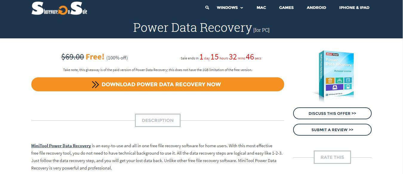 Phần mềm Power Data Recovery khôi phục dữ liệu cho máy tính