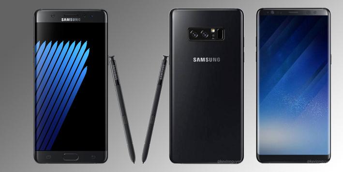 Kết quả hình ảnh cho Samsung Galaxy Note7 vs Galaxy note 8