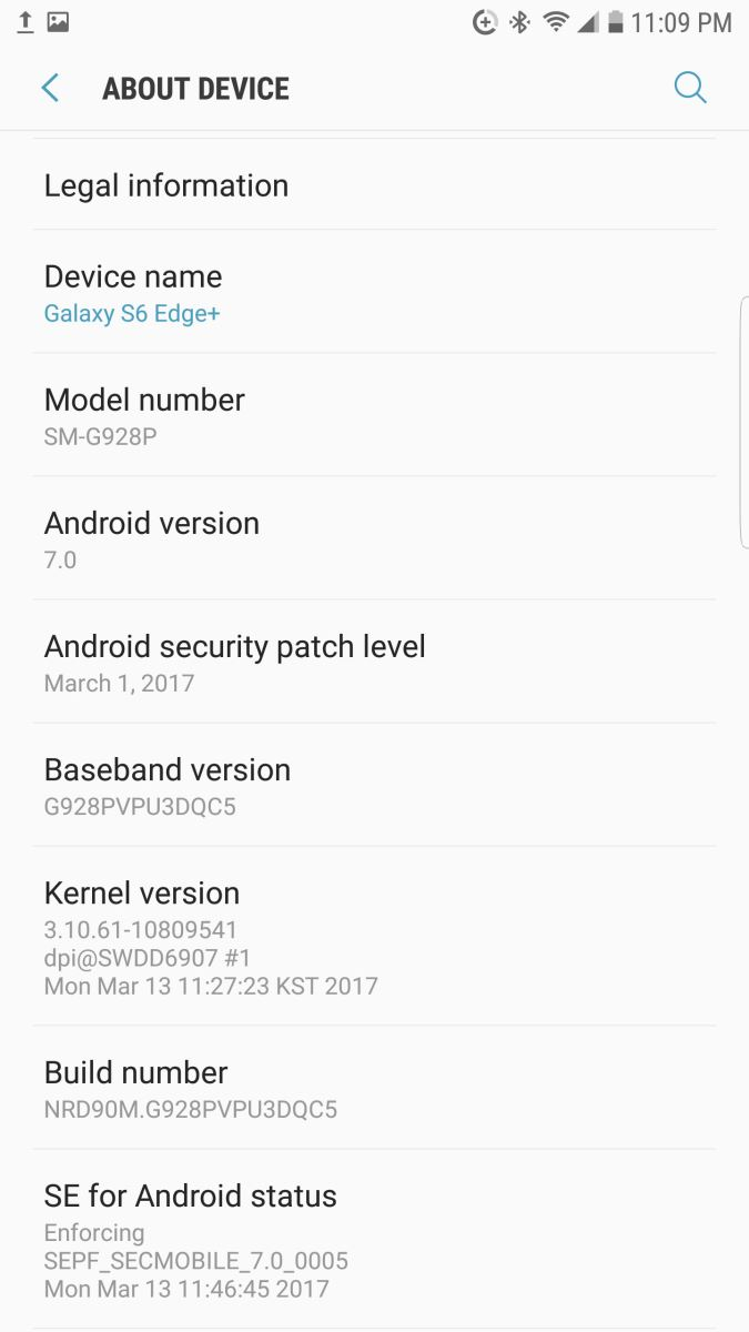 Samsung Galaxy S6 Edge được cập nhật Android 7.0 Nougat