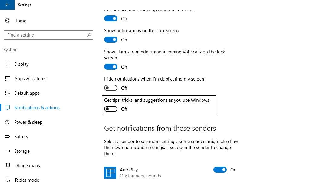 Vô hiệu hóa tính năng Tips About Windows