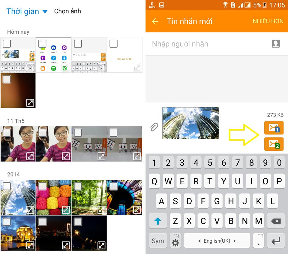 Cách gửi tin nhắn kèm hình, video, âm thanh trên Galaxy On7