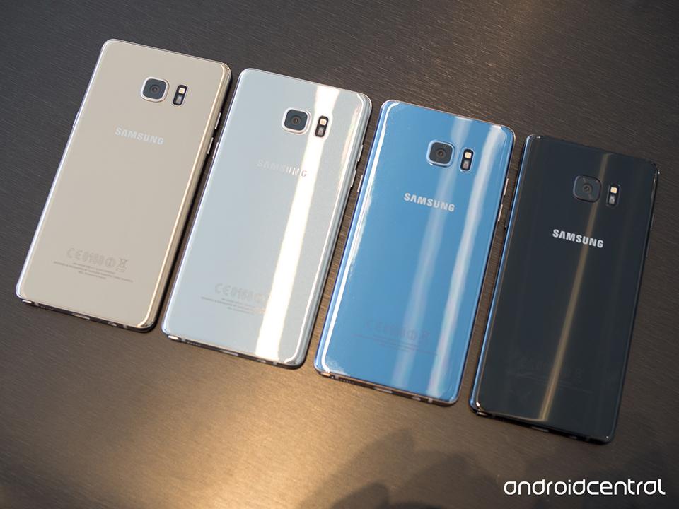 Hình ảnh 4 màu thực tế của Samsung Galaxy Note 7 mới ra mắt