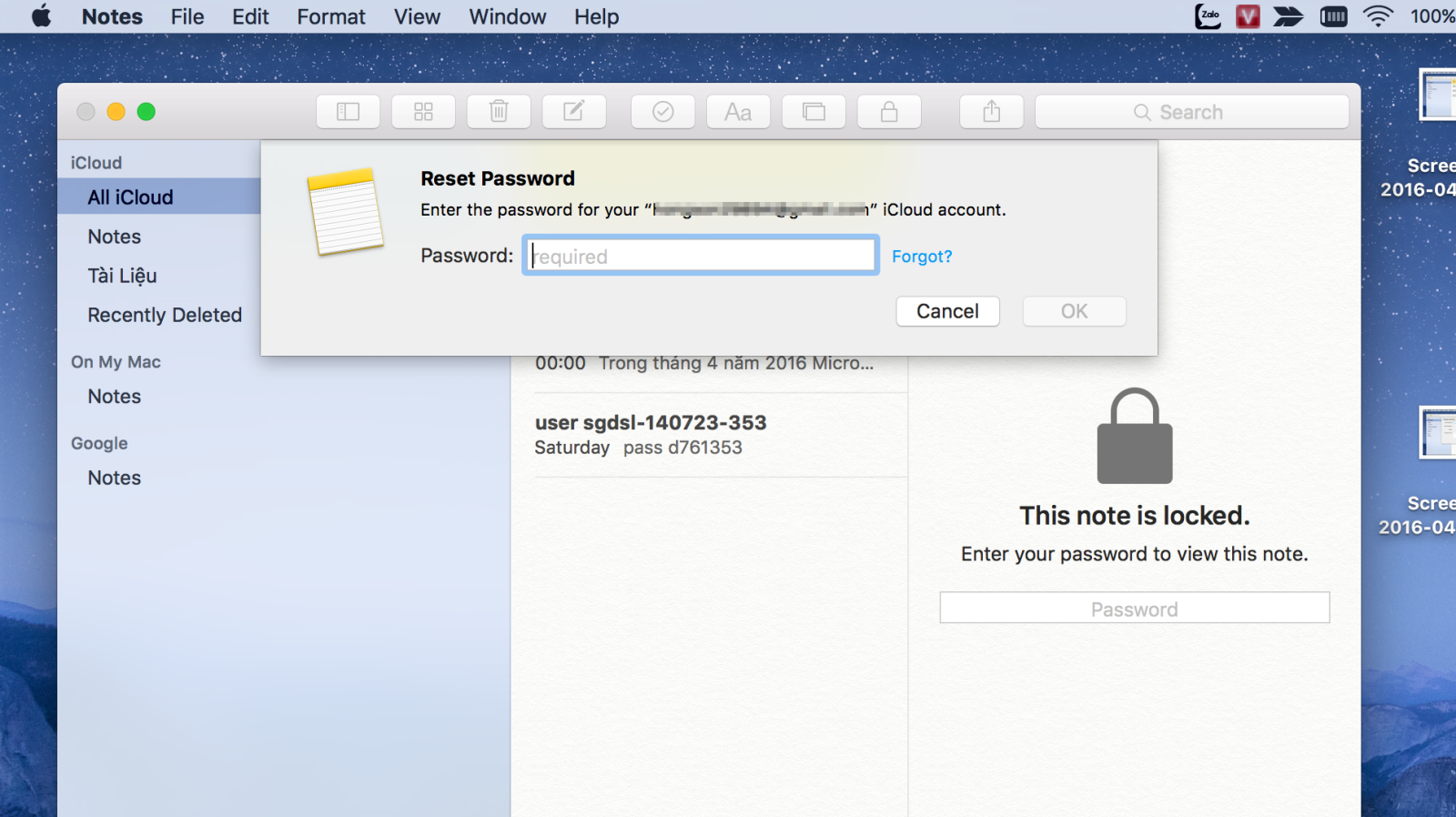 Hướng dẫn tạo mật khẩu ghi chú trên máy Mac
