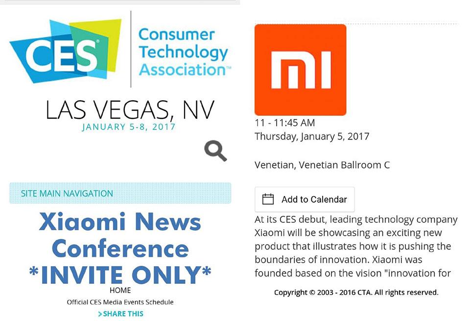Xiaomi công bố sẽ tham dự CES 2017
