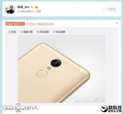 CEO Xiaomi công bố hình ảnh Xiaomi Redmi Note 2 Pro