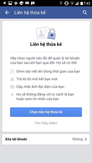 Lập di chúc cho tài khoản Facebook phòng khi bạn qua đời