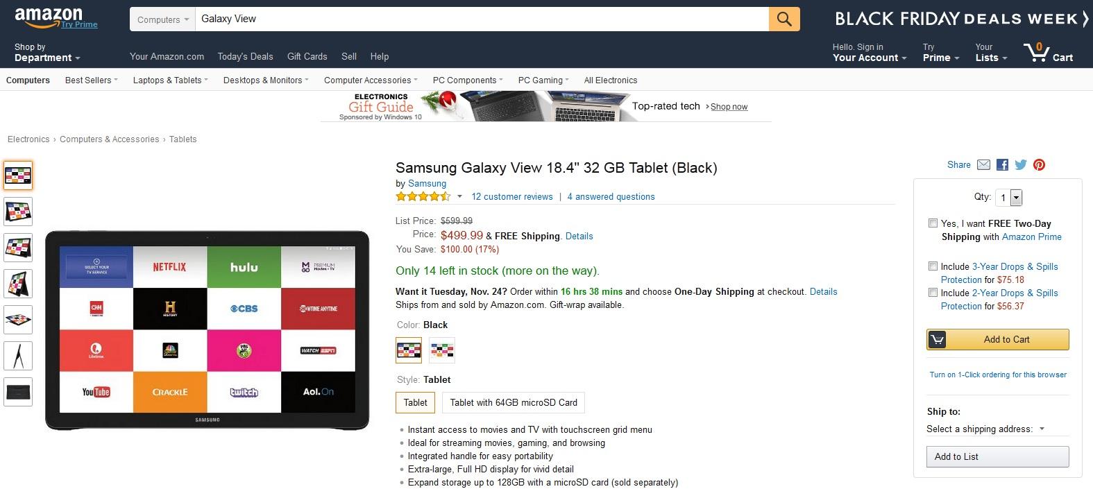 Samsung Galaxy View giảm 100$ trên Amazon