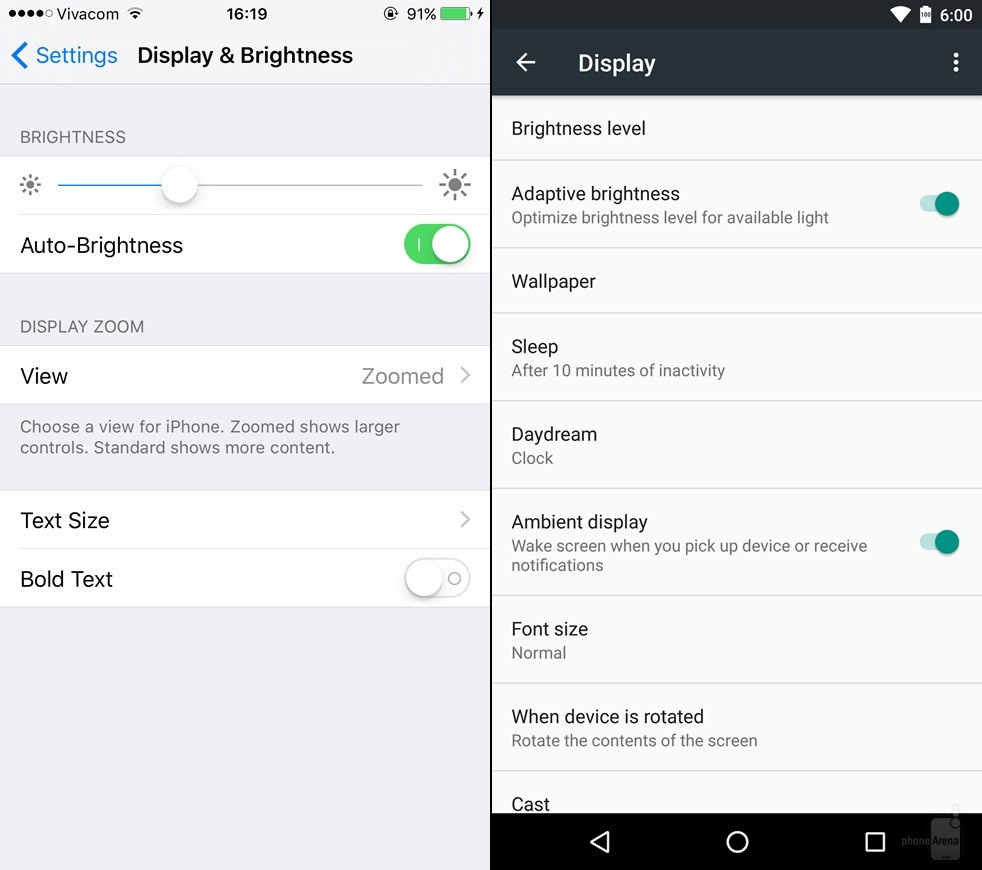 So sánh giao diện Android 6.0 Marshmallow với iOS 9 10