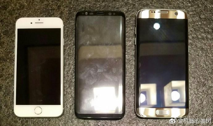 So sánh kích thước Galaxy S8 với iPhone 7 và Galaxy S7 edge