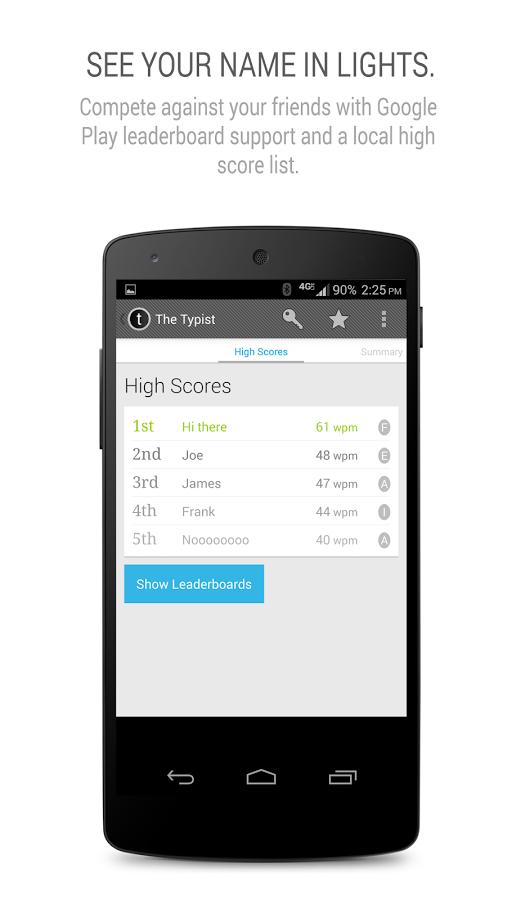 Ứng dụng đo tốc độ gõ phím trên smartphone Android 5