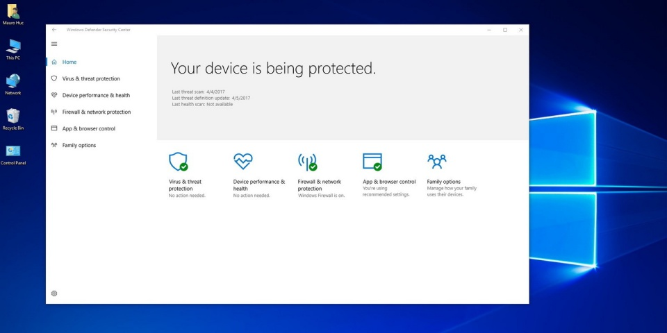 Phần mềm Windows Defender Win 10