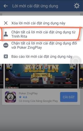 Chặn người dùng mời chơi game