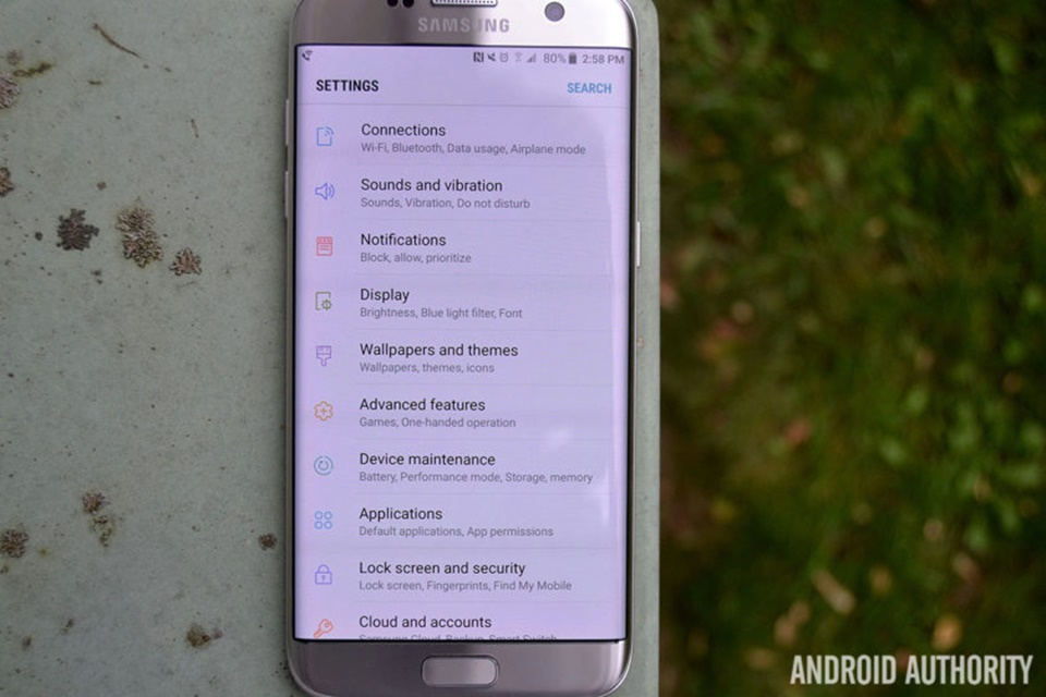 Giao diện Settings Android Nougat trên S7 Egde