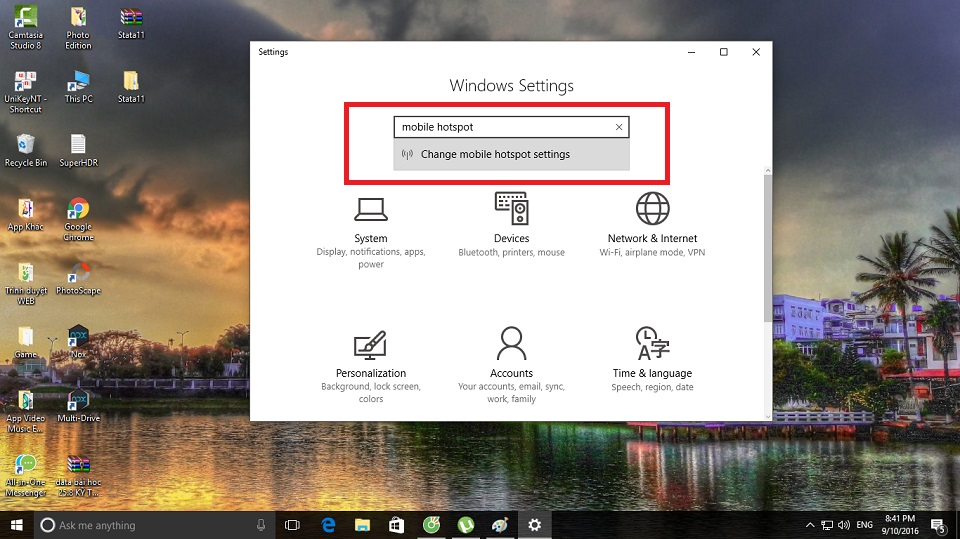 Tạo wifi Hotspot Windows 10 1