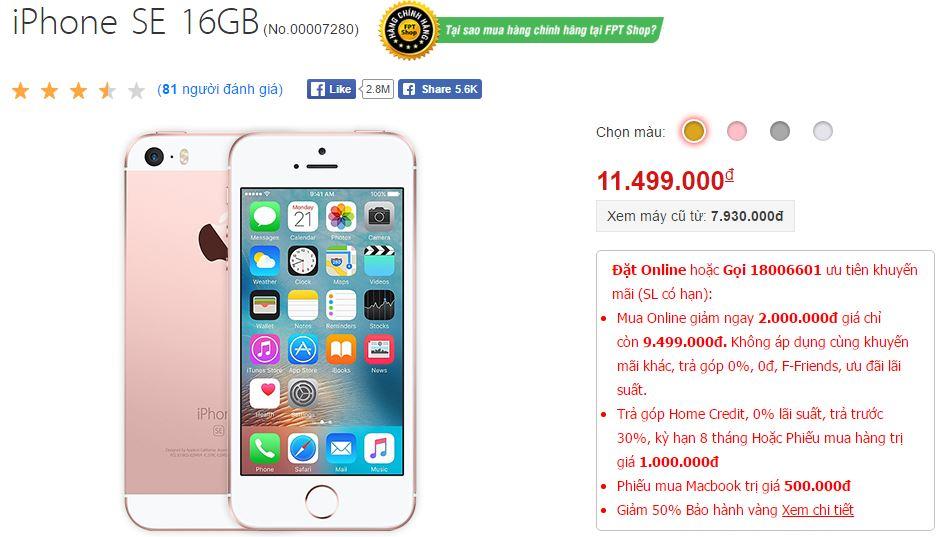 iPhone SE đang được giảm giá cực sốc tại FPT Shop