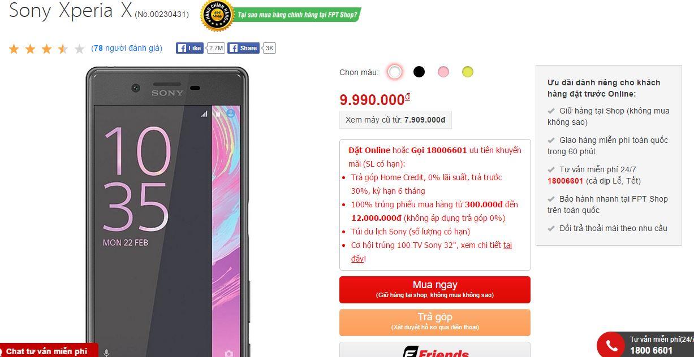 """""""Siêu phẩm tầm trung"""" Sony Xperia X giảm giá sốc tại FPT Shop"""