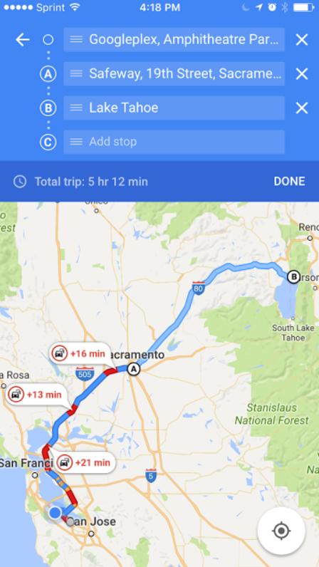Google Maps trên iOS được bổ sung tính năng multi-stop