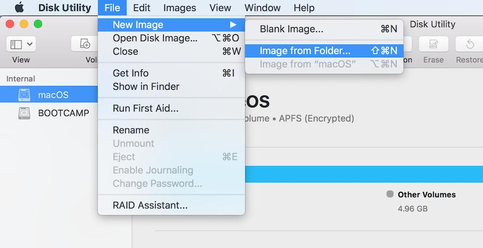 Nhấn vào tuỳ chọn Image from Folder trong Disk Utility.