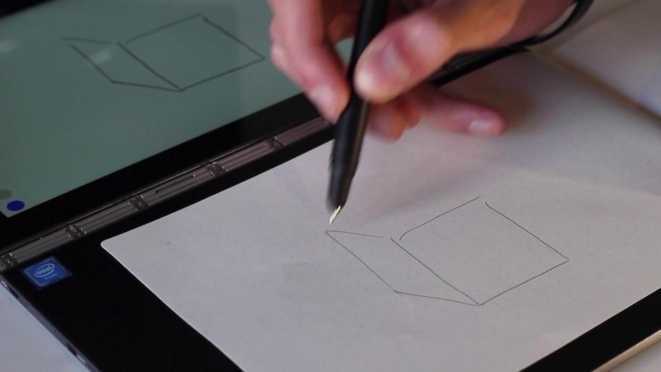 Thay vì vẽ trực tiếp lên màn hình hay bàn rê cảm ứng, người dùng có thể vẽ thông qua giấy.