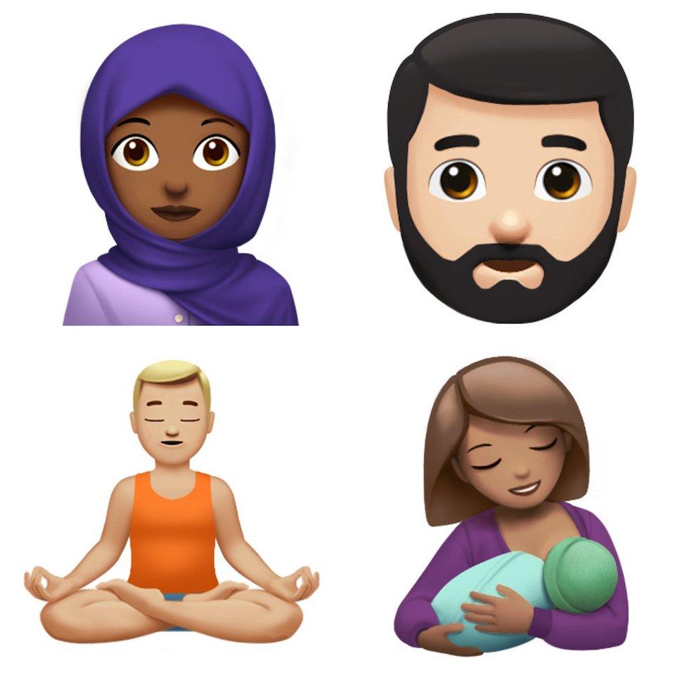 Apple bổ sung biểu tượng Emoji người Mẹ cho con bú và người phụ nữ quàng khăn.